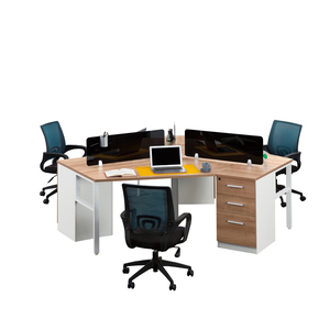 120 Degree Office Workstation Open 3 Person Working Workstation