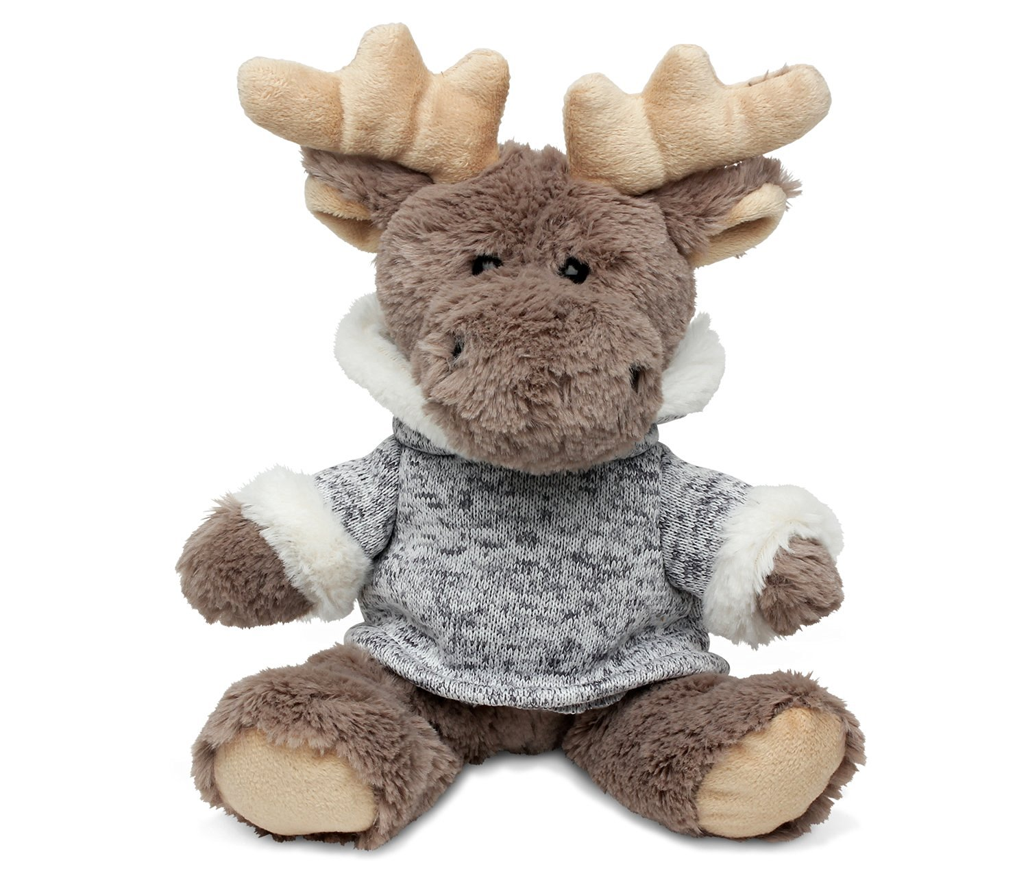 Buy Puzzled Sitting Moose With Grey Hooded Sweater Super Soft