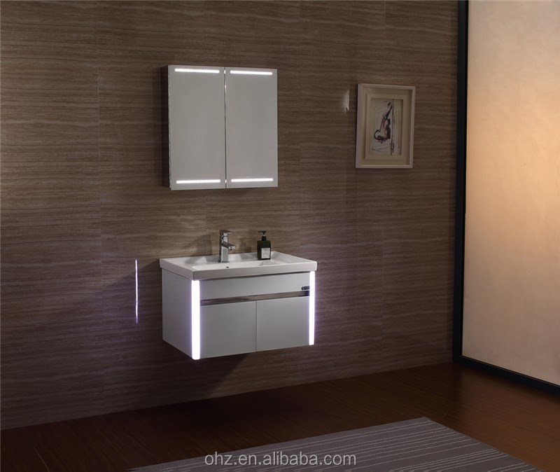Waterproof Bathroom Vanity,Stainless Steel White Bathroom Cabinet Vanity  With Led Light 076   Buy Bathroom Cabinet Vanity With Led Light,Bathroom  Cabinets ...