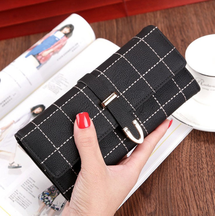 Women Wallet Clutch Grid Long Purse PU Leather Buckle Card Holder Travel Purse