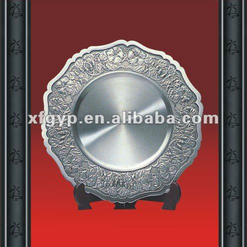 pure tin top and resin/wood base sport metal plate trophy
