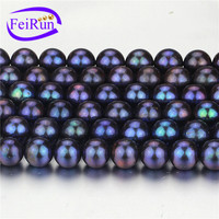 9mm AA round dyed black peacock cultured real freshwater pearl strand bead