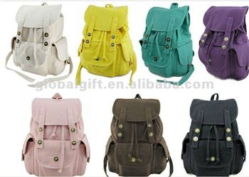 Cute Pink Canvas Backpack For College Girls