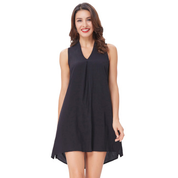 a621e2991a9 Kate Kasin Sexy Womens Sleeveless V-Neck Cotton Mini Dress Black Dress  KK000650-1