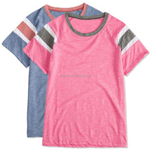 2017 OEM Promotional T-Shirts Ladies Combed Ringspun Cotton Slub Fabric Top Brand T Shirts For Women