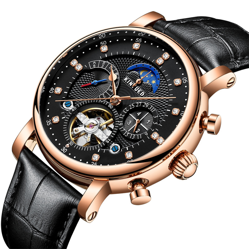 Kinyued China Factory Watch Moon Phase Calendar High Quality Automatic Tourbillon Mechanical Man Watch