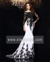 Sexy scoop neck black applique mermaid long chiffon wedding and evening dress