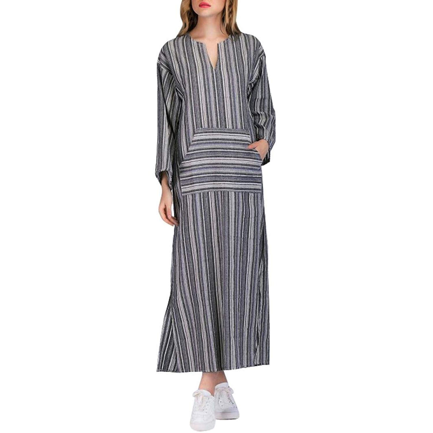 c2a313c5b267 Get Quotations · Kaftan Dress Ankola Plus Size Fashion Women Long Kaftan  Striped Long Sleeve Loose Maxi Dress