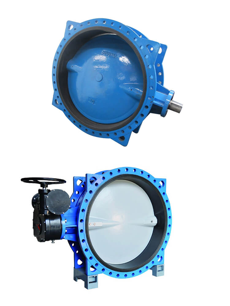 Densen Large Size Double Flange Concentric Rubber Lined Butterfly Valve