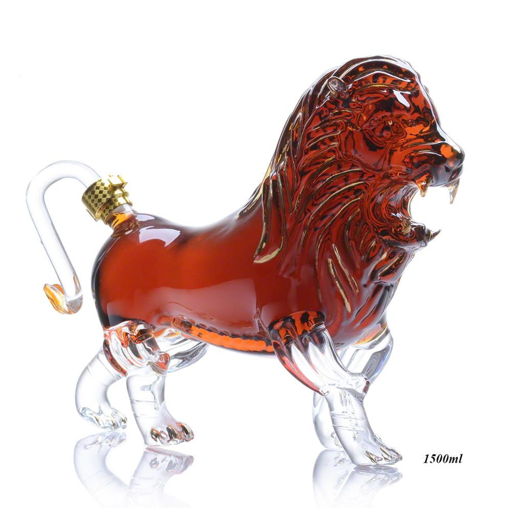 Animal Shaped Glass Bottle Lion Shaped Clear Glass Decanter 1500ml