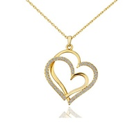 Valentine's Day Girl Gift Metal Double Heart Crystal Charm Pendant Necklace