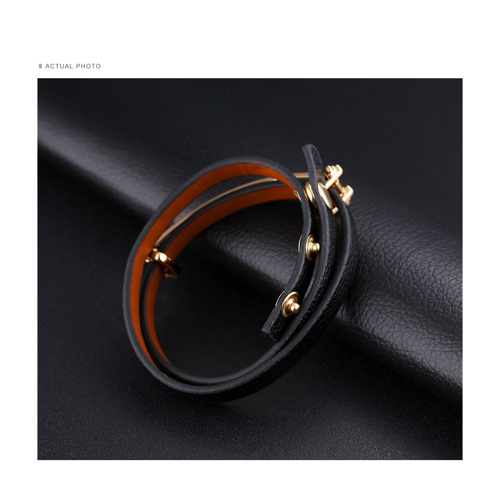 New Product 2018 Women Wristband Wrap Leather Snap Engraved Logo Metal Dollar Store Bracelets