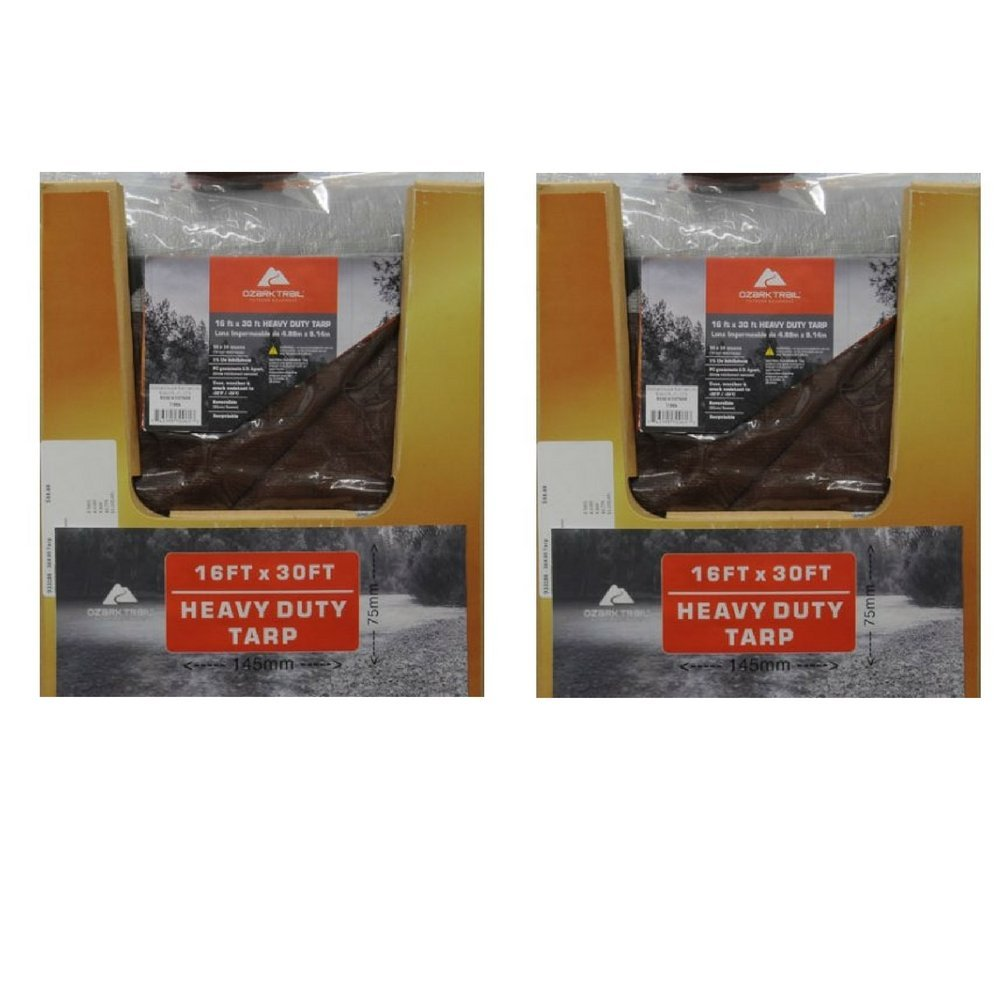 Ozark Trail Heavy-Duty Tarp, Silver/Brown 16x30 (2 Pack)