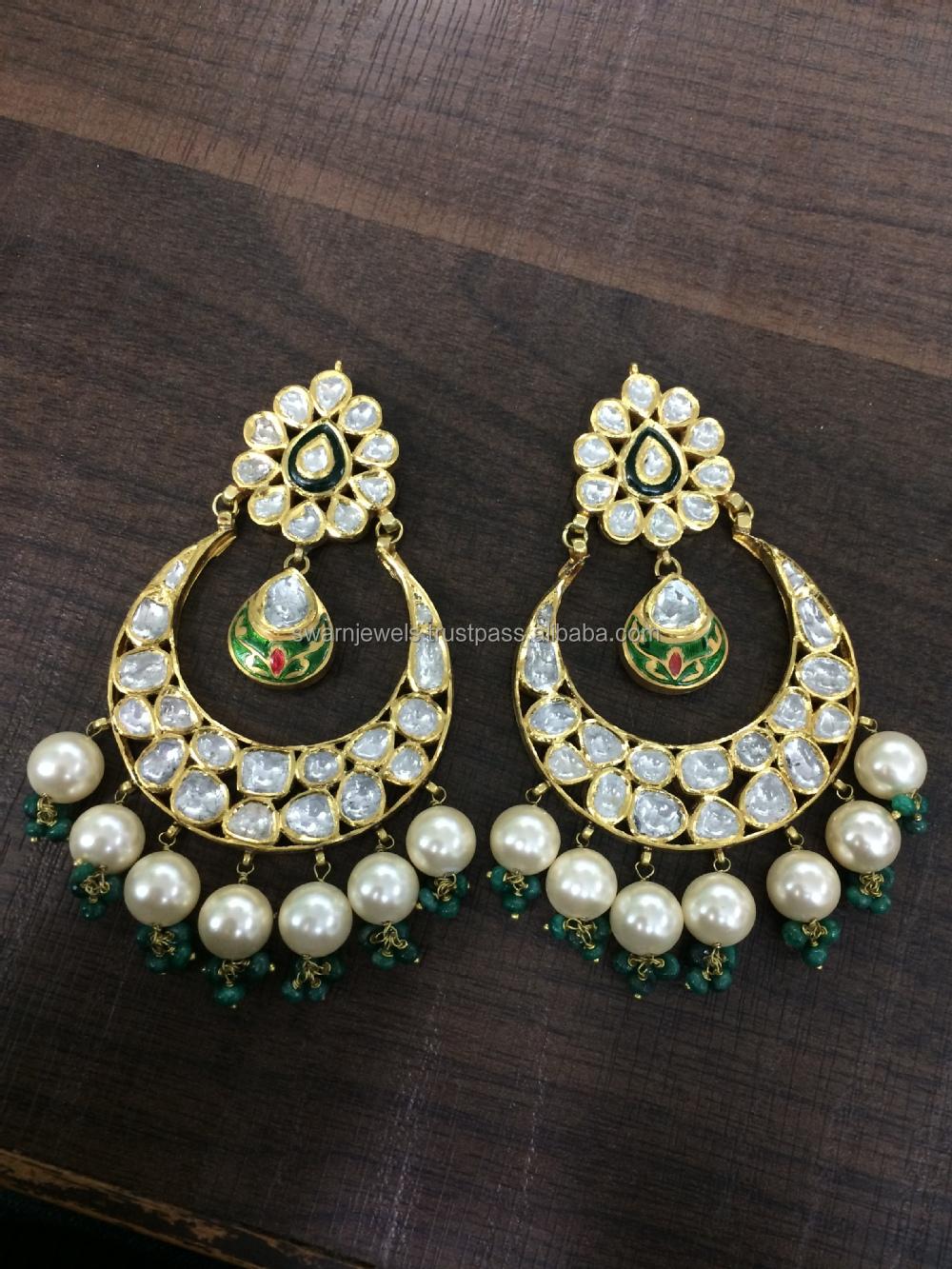 8867318a57df5 22K Gold Diamond Polki Designer Kundan Danglers with Pearl dropings, View  diamond long earrings, SWARN JEWELS Product Details from SWARN JEWELS on ...