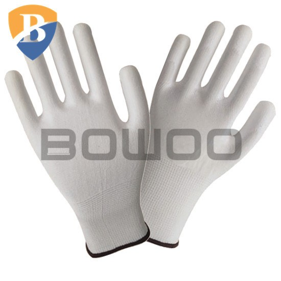 White ladies pu coated garden gloves for static resistance