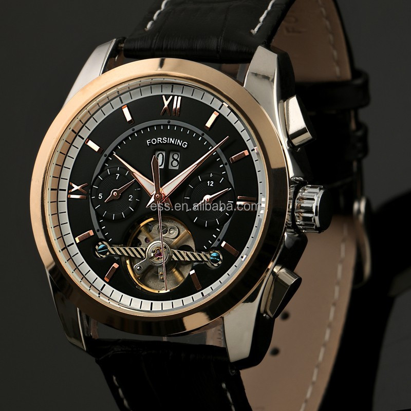 Luxurious Genuine Leather Strap Flying Tourbillon Automatic Mechanical Watch WM389