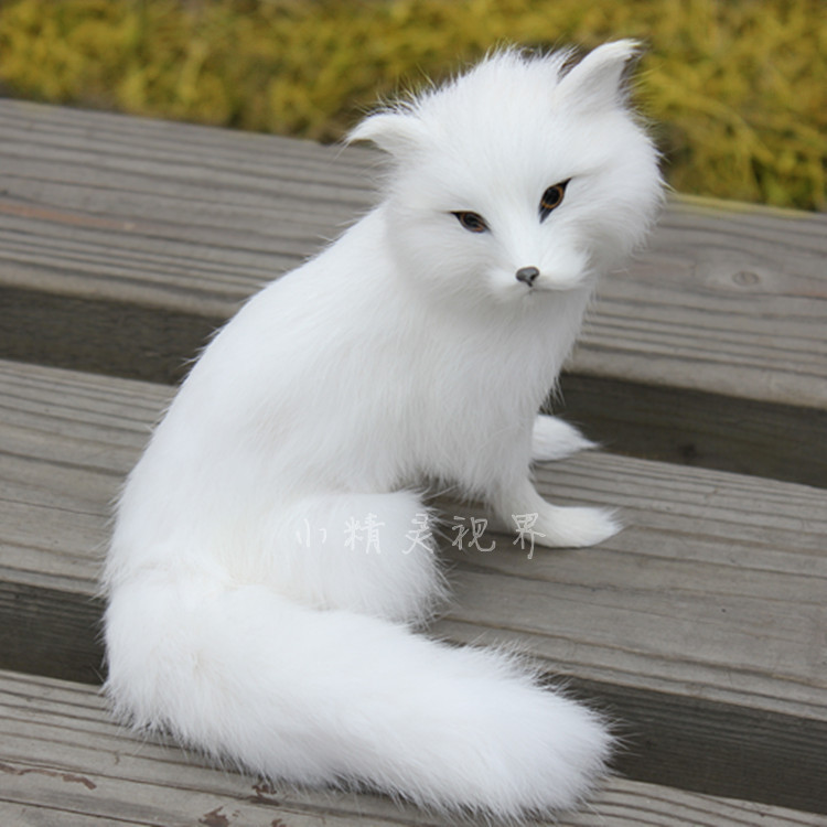 high quality cute fox toy Simulation white fox doll delicated white fox gift toy about 16x14cm 2096