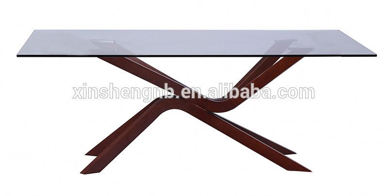 modern glass dining or coffee table with beech leg