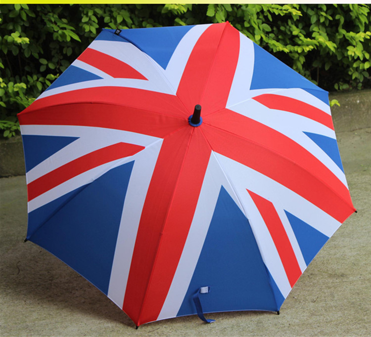 Chinese supplier 2018 cheap price 23inch 8K new union jack straight  umbrella