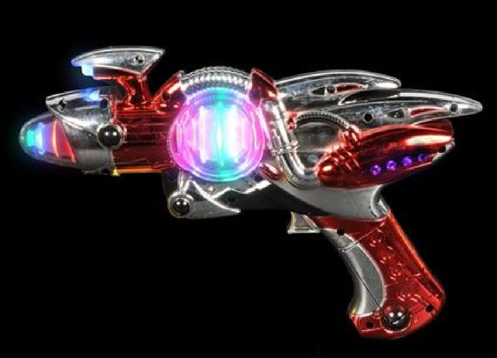 Light- Up Toy Gun - Red Laser Space Gun Blaster Toy -Noise Making -Super Spinning -11 1/2 Inch- For Children, Play Time, Pretend, Parties, Halloween, & Gifts - Kidsco