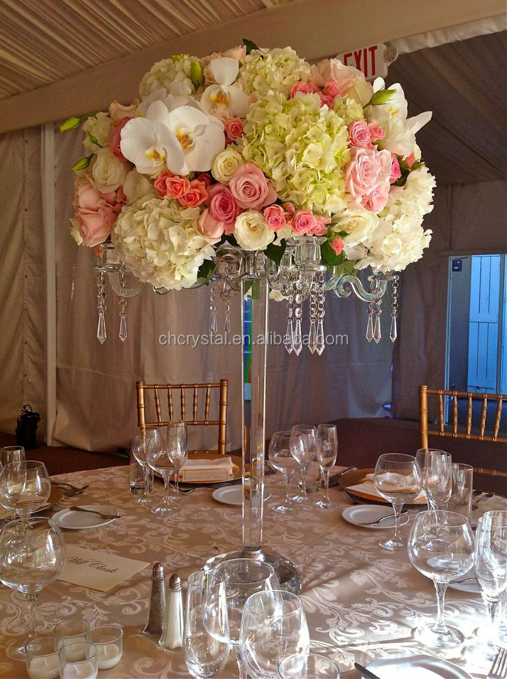 Latest 5 Arms Crystal Tall Candelabra with flower bowl for wedding centerpieces MH-TZ035