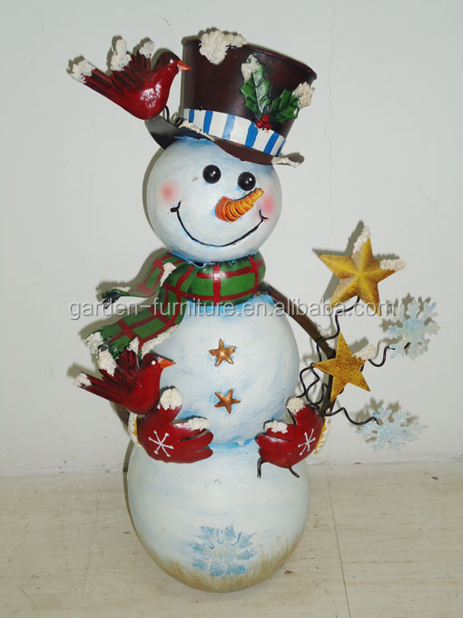 Wrought Iron Handicraft Winter Home Decor Red Bird Broom Outdoor Christmas Metal Snowman Figurine