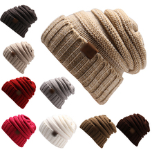 Women's Thick Slouchy Knit Beanie Cap Hat With or without CClogo woman winter warm knitting crochet beanie hat