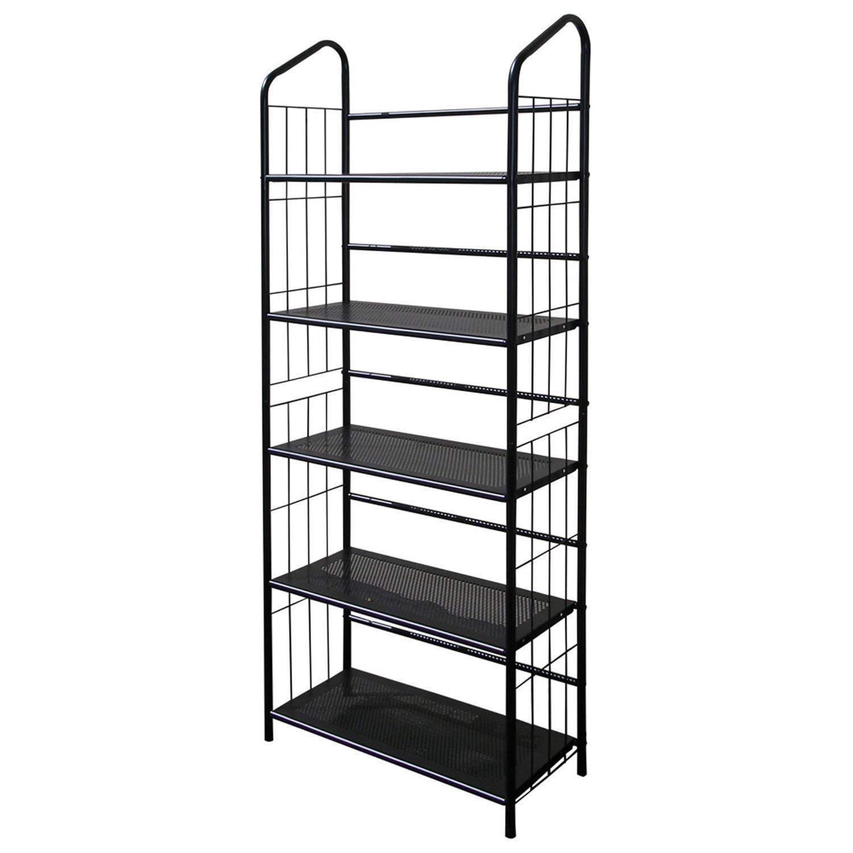 Get Quotations 5 Tier Bookcase Storage Shelves Rack In Black Metal