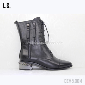 Black leather women boots Military Combat Boot Motorcycle Riding Lace up shoes mid calf boots with Zipper