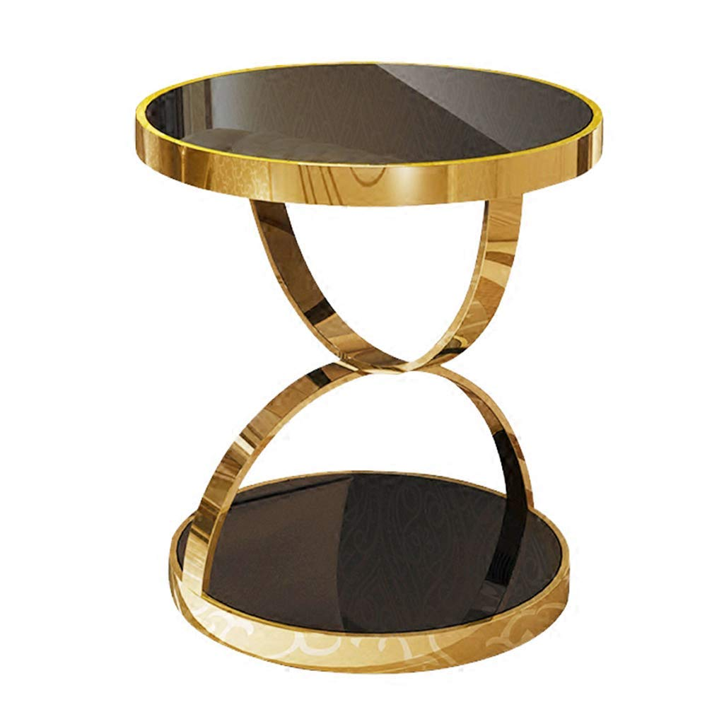Bedside table GJM Shop Modern Simplicity Stainless Steel + Tempered Glass Coffee Table Sofa Side Cabinet Bedside Cabinet -Gold/Silver (Color : Gold, Size : 4045cm)