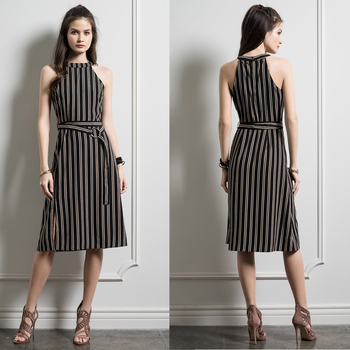 Fashion Clothing Design Sleeveless Midi Length Striped Clothes Women Ladies Dress