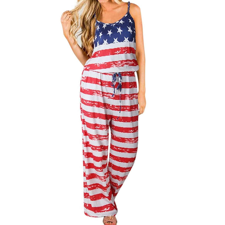06922df4ba Get Quotations · RAISINGTOP Romper USA Flag Women American Flag Sleeveless  Holiday Long Playsuits Jumpsuit Wide Leg Harem Pants