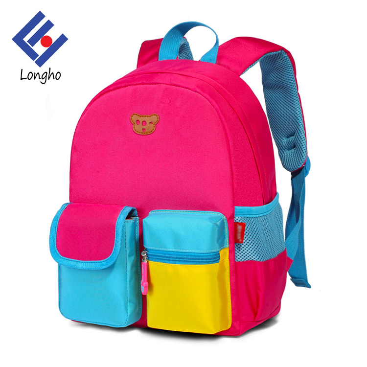 2017 Custom cheap kids double shoulder school bag lovely kindergarten backpack for promotion gift