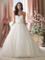 white tulle ball gown lace sweetheart beautiful arabic wedding dress