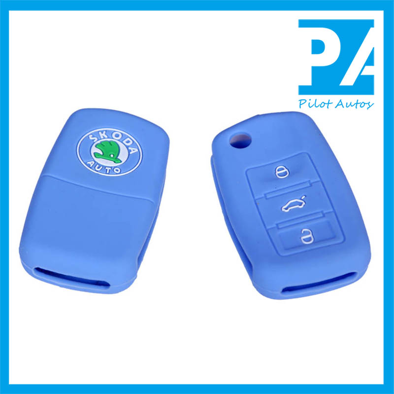 Silicone Car Key Cover For Volkswagen VW Skoda 3 Buttons Octavia Fabia Superb