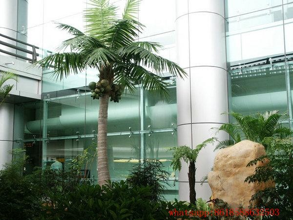 wholesale guangzhou coconut palm tree wedding tree decoration high quality big fiberglass coconut tree and leaves