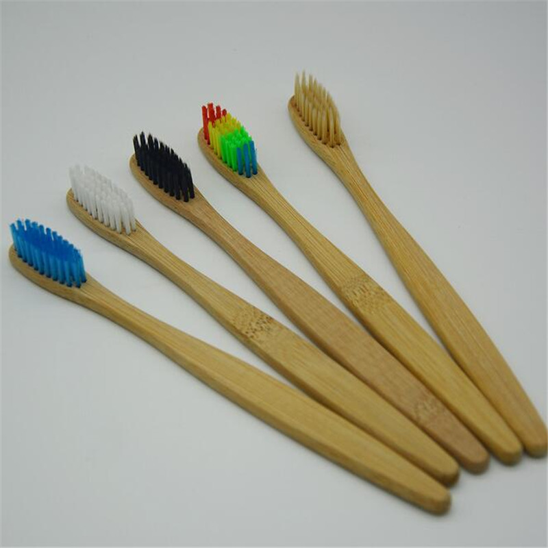 multi color environment <strong>Eco</strong> friendly wooden Bamboo Toothbrush tongue scraper Oral Care Soft Bristle Hotel toothbrush