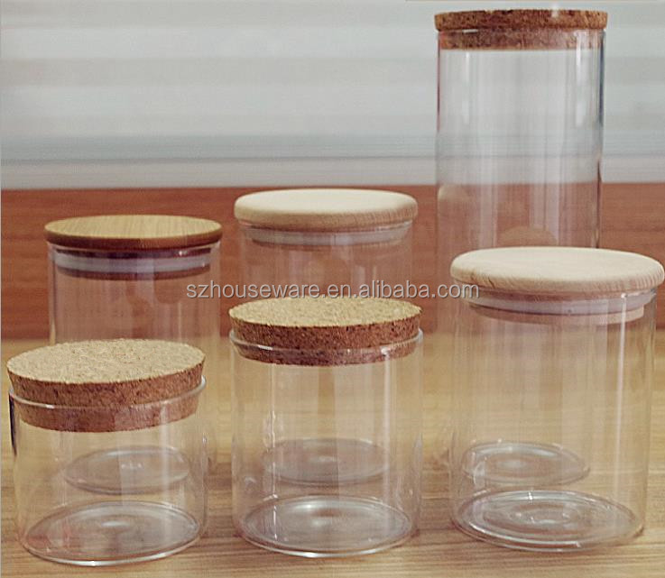 High Borosilicate Glass Jar With Cork Lid Or Wooden Lid Buy Glass