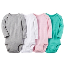 (3m-24m) Baby Girl Clothes 2016 Hot Sale Carters Baby Boys 4 Pack Sport Body Suits Long Sleeve O-neck Solid Baby Clothes