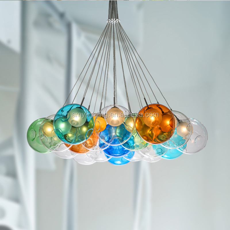 Modern Colorful Glass Bubble Led Pendant Light Chandelier ...