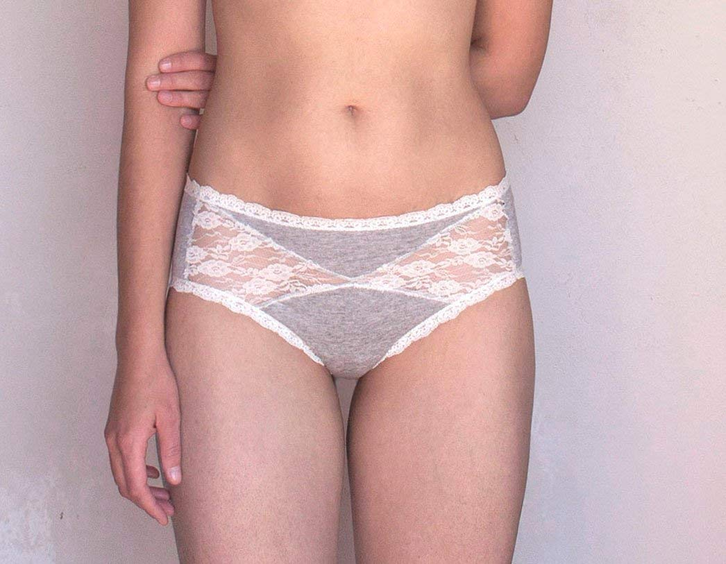 Get Quotations · Lace Panties. Gray and Ivory Lace. Sheer Lace Back.  Handmade Lingerie b4029011f