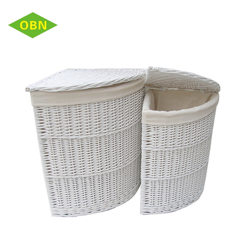Hot Customized White Wicker Corner Storage Basket Hotel Laundry For Dirty
