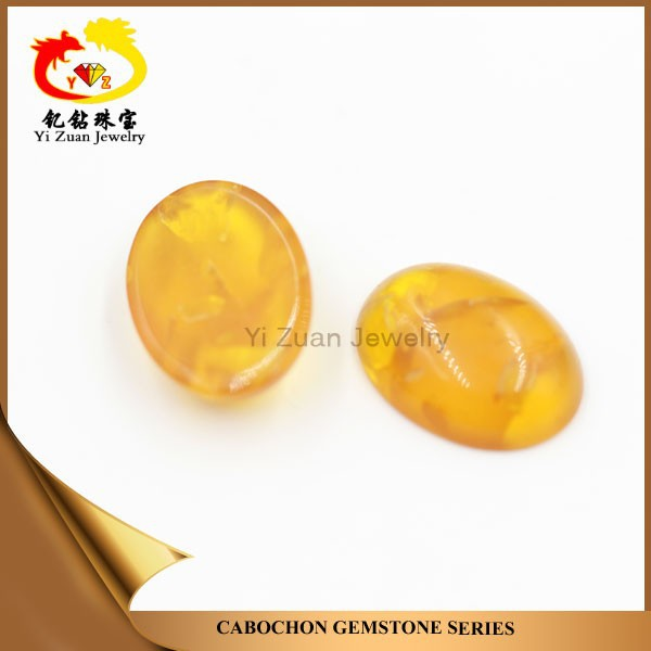Factory wholesale price oval shaped cabochon natural baltic amber stone