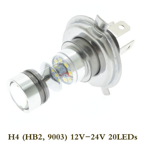 1pc H4 LED 100W Super Bright 12V/24V 20 LEDs Light 6000K Car LED Driving DRL Fog Lamp Bulb Cool White Car-styling Light <strong>Source</strong>