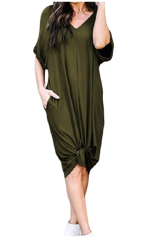 Zimaes-Women Short-Sleeve Loose V Neck Chic Soft Pure Pockets Mid Dress
