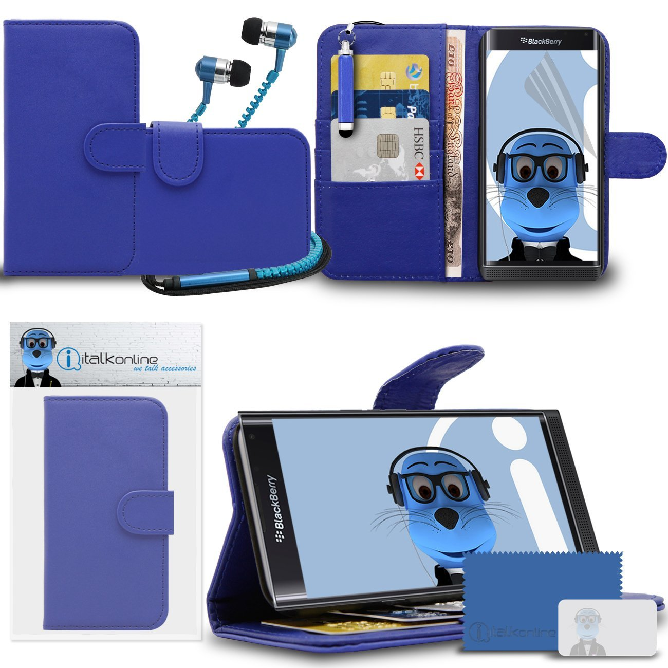 BlackBerry Priv Blue PU Leather Wallet Case with Credit Card Holder and Viewing Stand - LCD Screen Protector - Retractable Mini Stylus Pen - 3.5mm ZIPPER Stereo Hands Free HeadPhones with Mic
