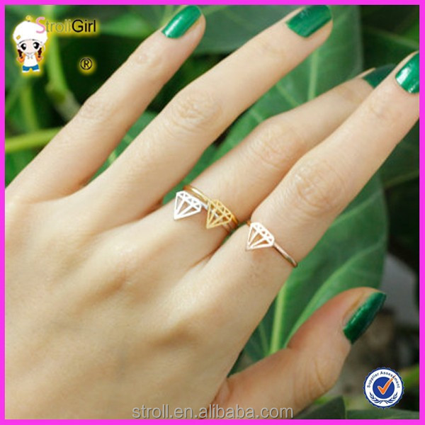 Diamond shaped cheap rose gold and 14 k gold plated silver ring