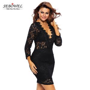 1885613c67 China factory sexy black lace v-neck mini clubwear dress