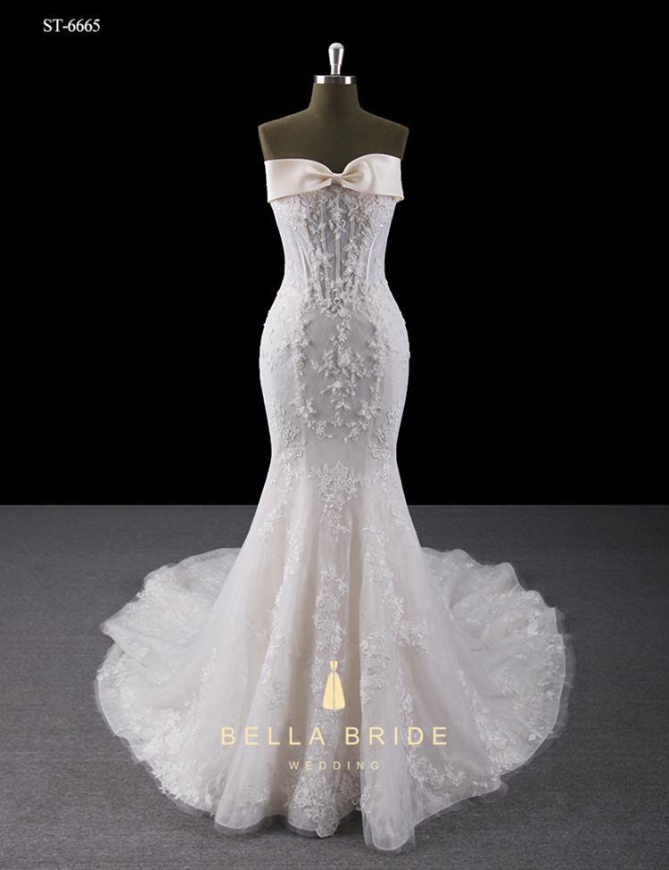 3b53897c9b Desmontable falda de encaje vestido de novia corte sirena cola larga  vestido de boda del corsé