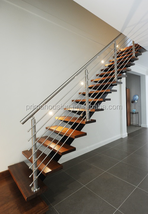 Good Stainless Wire Steel Railing Wooden Stair Grill Design